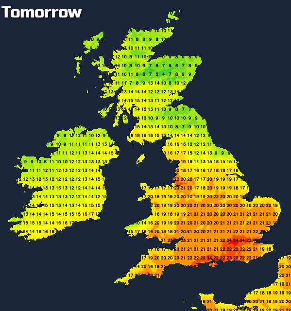 Temperatures tomorrow