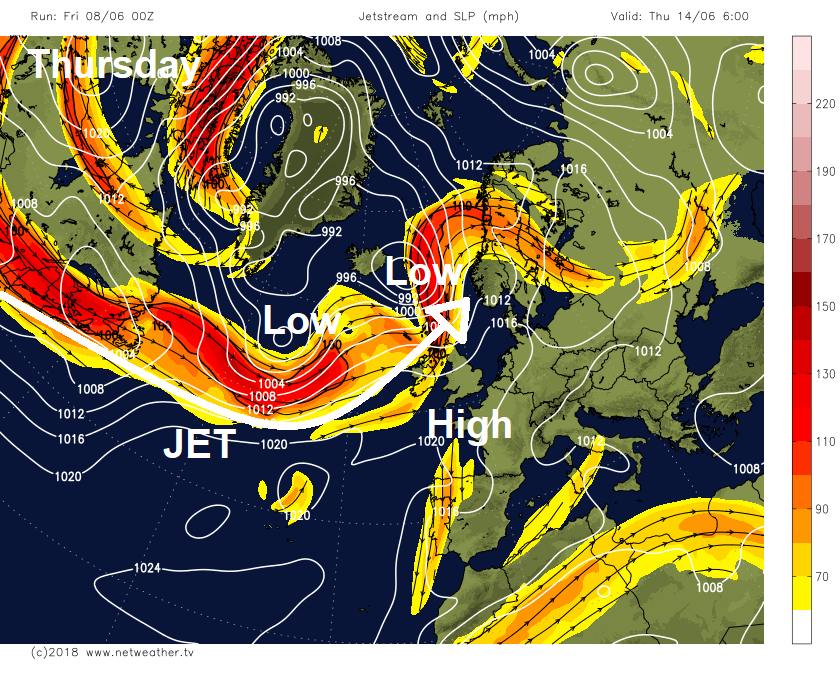 Change In Jet Stream Track Next Week & What This Means For The Rest Of June