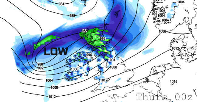 Wind and rain incoming for NW UK, gales by Thursday morning