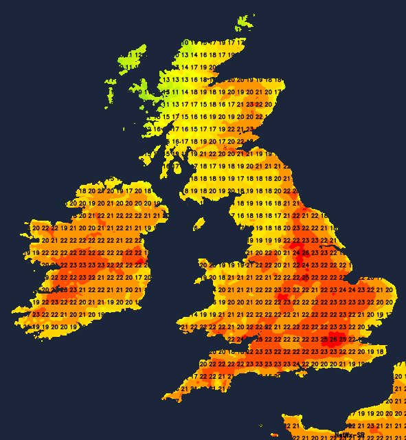Temperatures on Sunday afternoon - warmer than Saturday for many