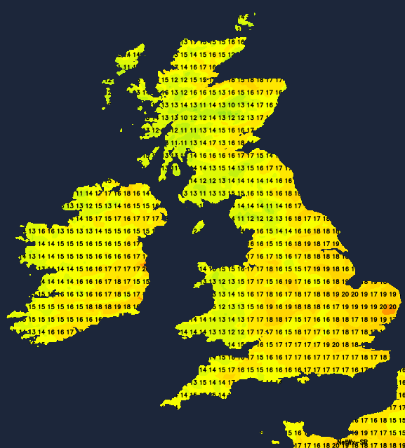 Temperatures today - warmest in the east