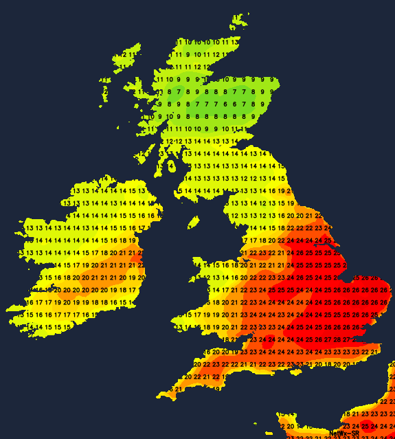 Very warm across England and Wales on Wednesday