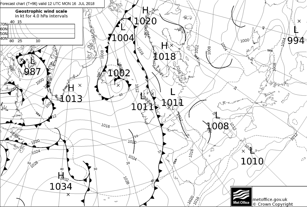 Weather front moving southeast on Monday