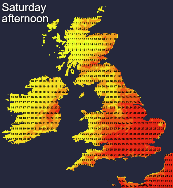 Temperatures on Saturday afternoon - very warm away from the northwest