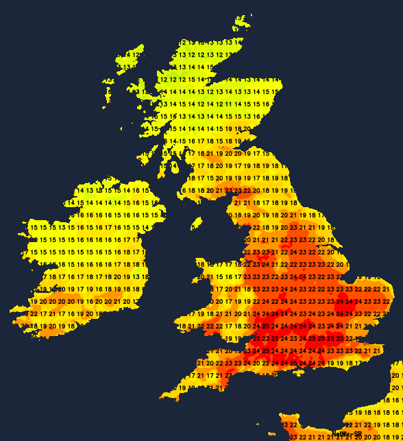 Temperatures this afternoon - warmest in southern and central regions