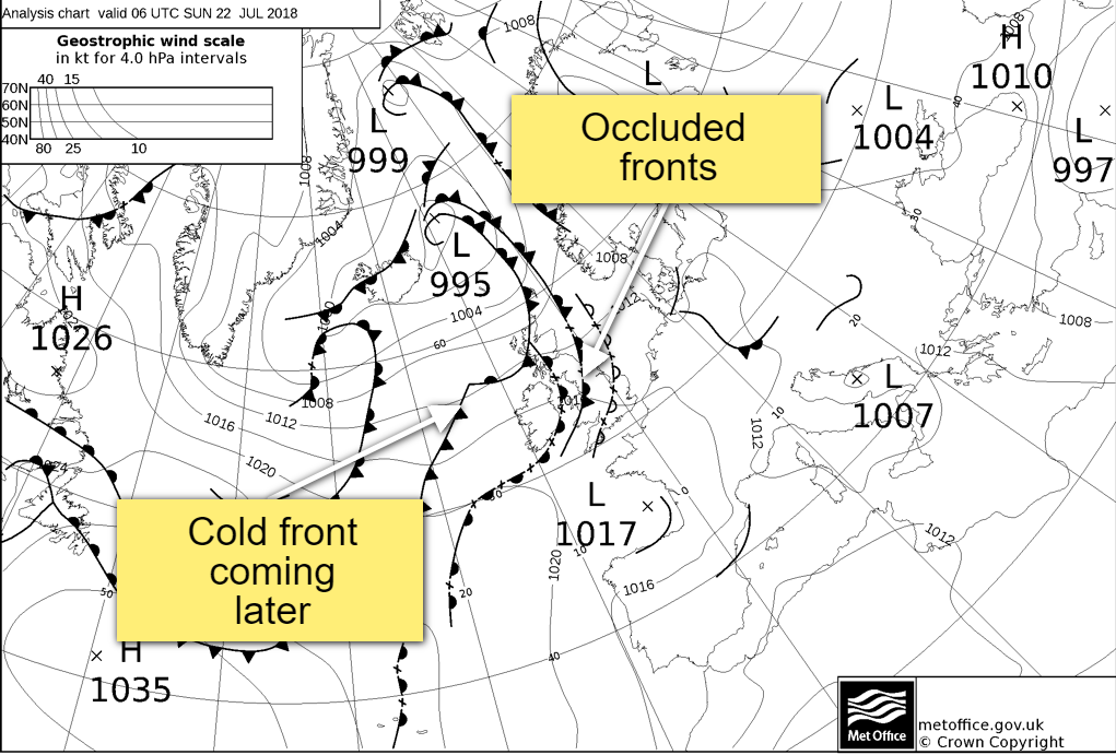 Weather Fronts on Sunday