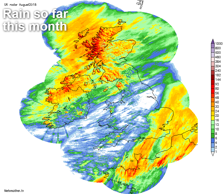 Rain totals so far this month
