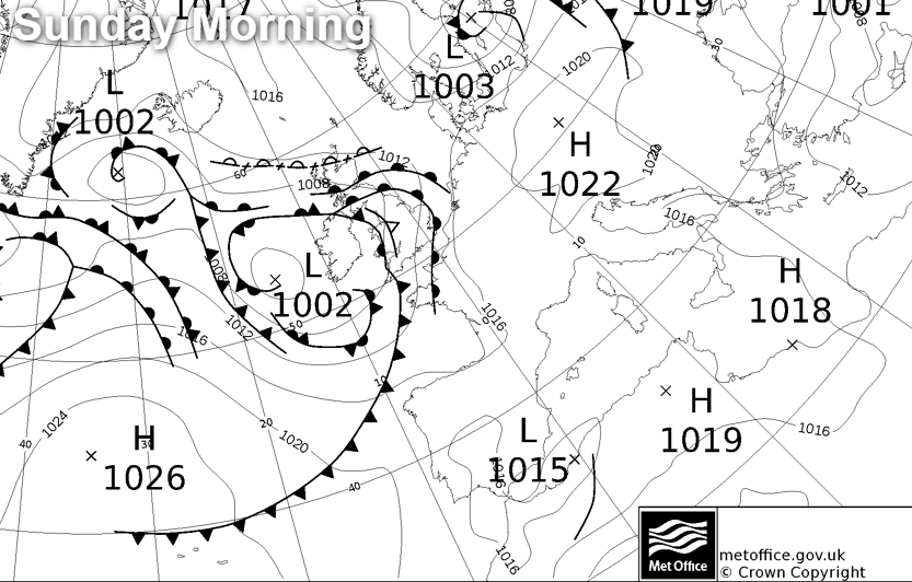 Low pressure and weather fronts on Sunday morning