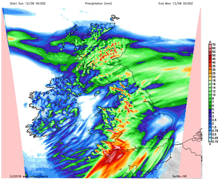 Rainfall totals on Sunday
