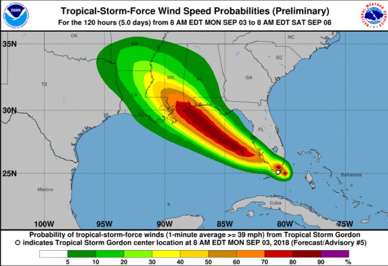 Atlantic hurricane season - Tropical Storm Gordon and Disney World rain