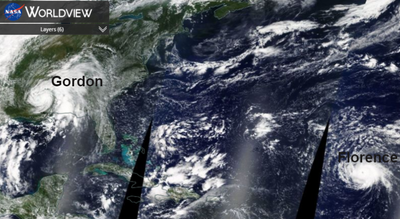 Hurricane season: Florence mid Atlantic. Gordon's rain, Hawaiian watch on Norman and Olivia