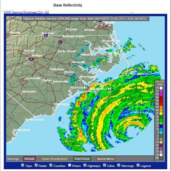 Hurricane radar nc