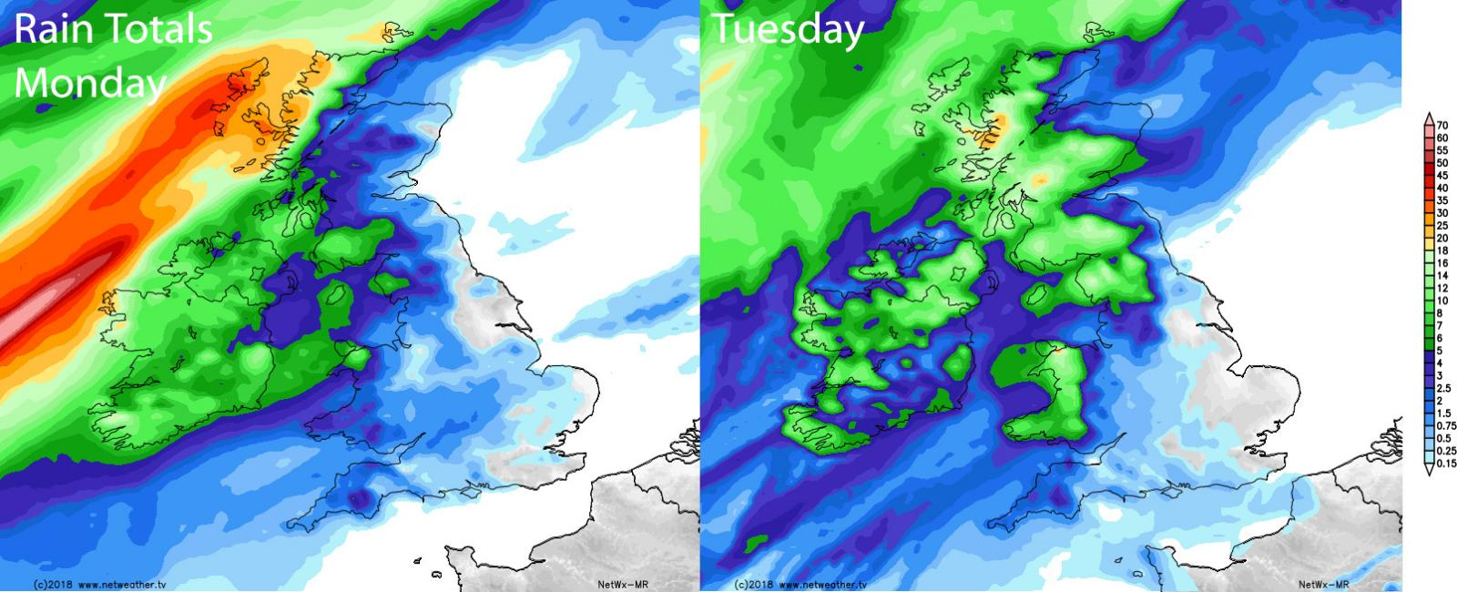 Rain totals on Monday and Tuesday - wettest in the northwest