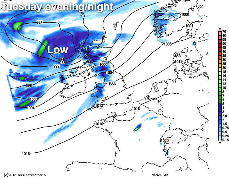 Tuesday evening and night low pressure