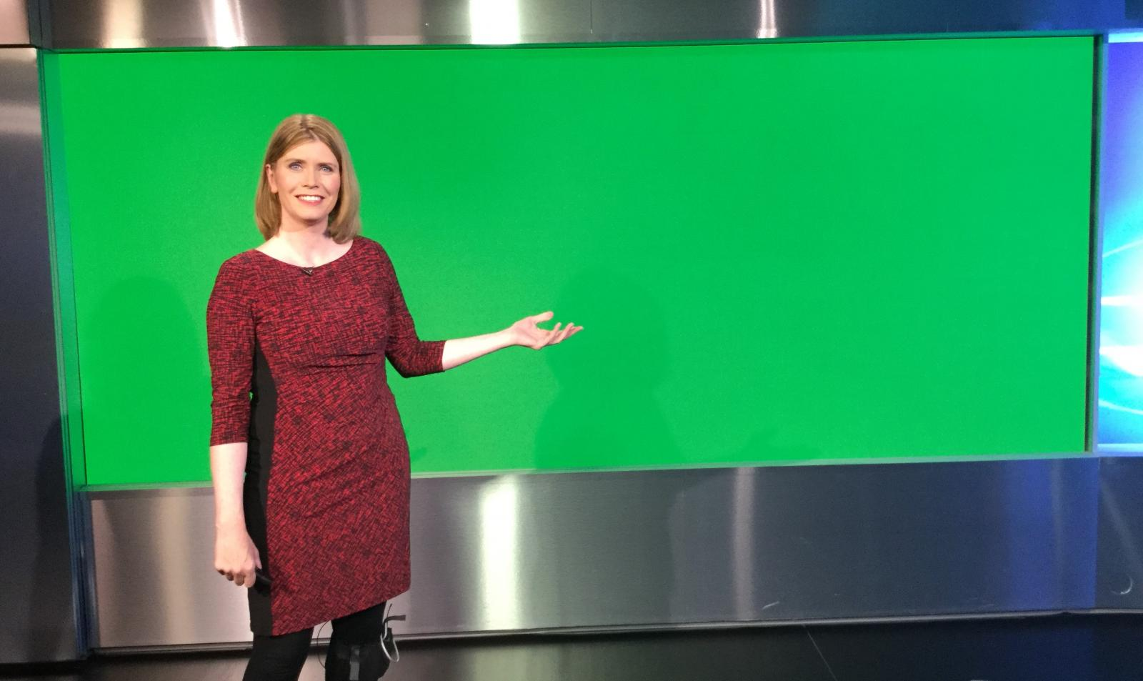 Behind the scenes of television weather. Green screen, clickers and cameras