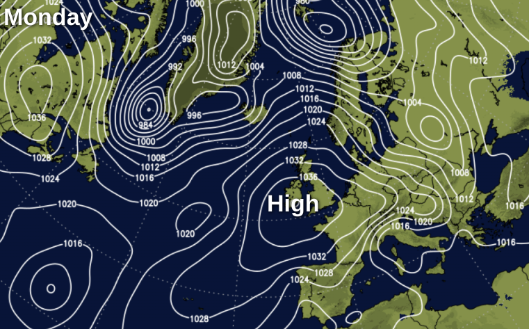 High pressure building over the UK tomorrow