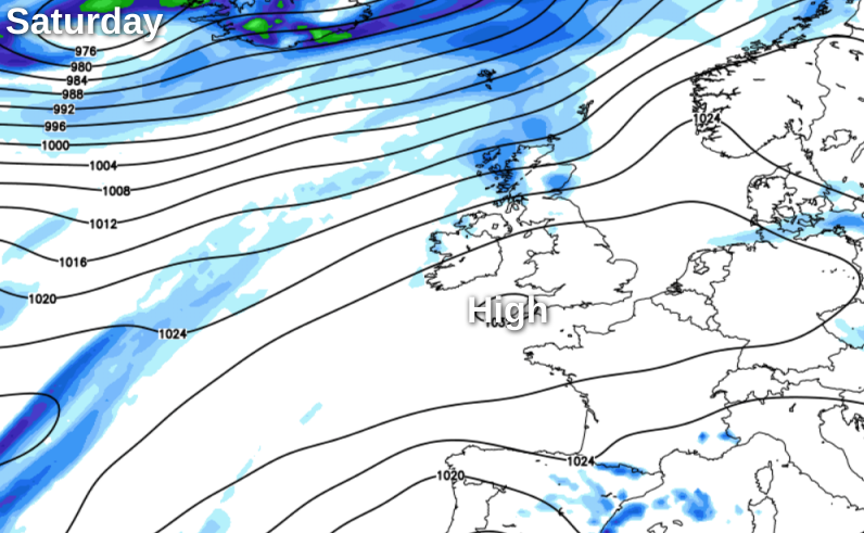 Saturday - high pressure in the south