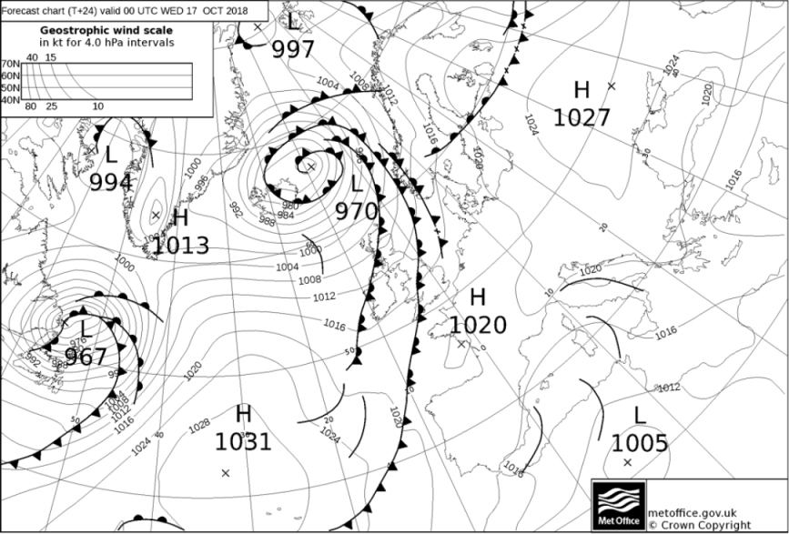 Weather fronts moving southeast tomorrow