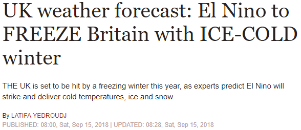El Nino to FREEZE Britain