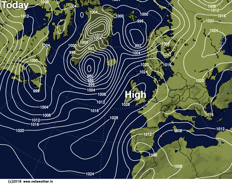 High pressure over the UK and Ireland today