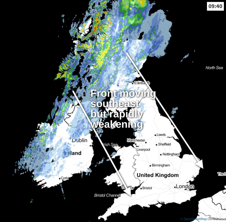 Rain moving southeast today
