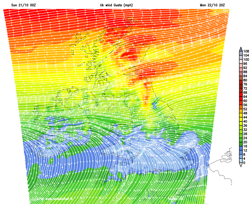 Strong winds across Northern Britain on Monday