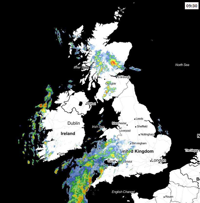 Weather radar earlier this morning
