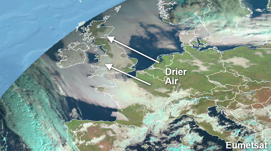 Drier air arriving off of the continent