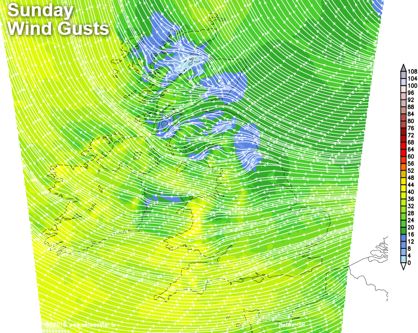 Winds becoming gusty in the south and to the west of high ground today