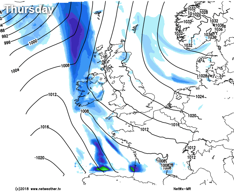 Showery rain in the west, wintry showers in the east on Thursday