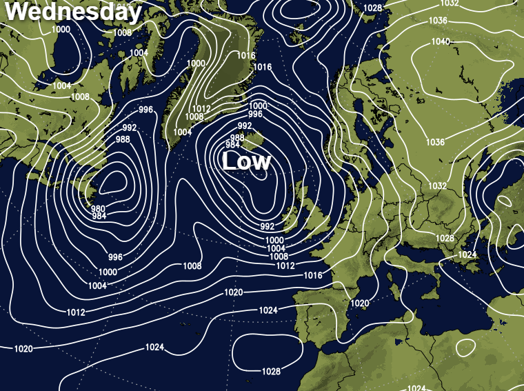 Low pressure west of Scotland