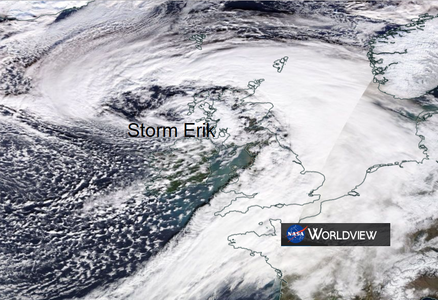 UK weather - More from STORM ERIK  overnight and for Saturday morning, clearing east.