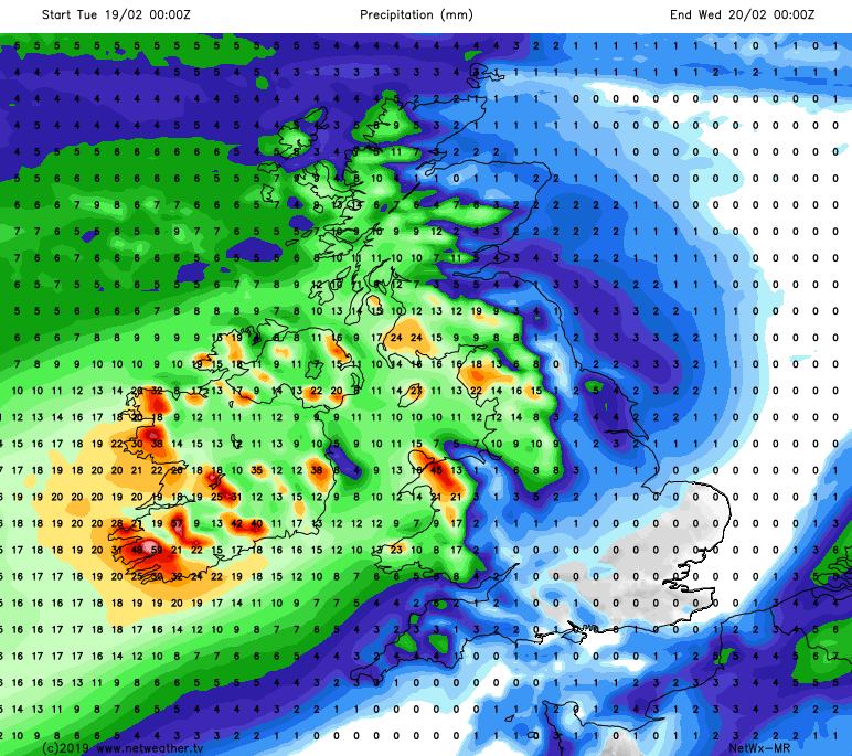 Rain moving in to the north and west on Tuesday