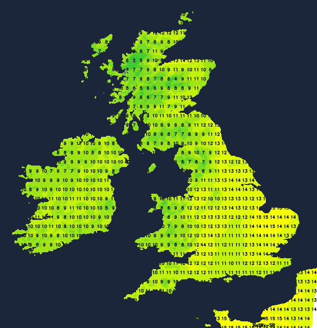 Temperatures on Sunday - mildest in the east