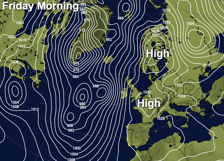 High pressure to the southeast and northeast of the UK