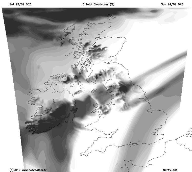 A front overnight bringing extra cloud to central Britain