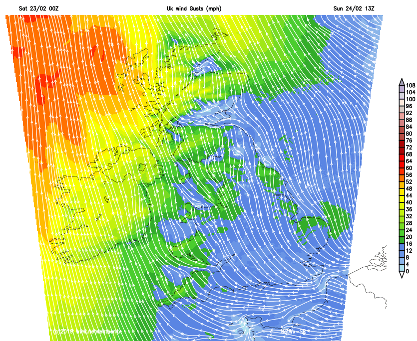 Windy in the west and north on Sunday