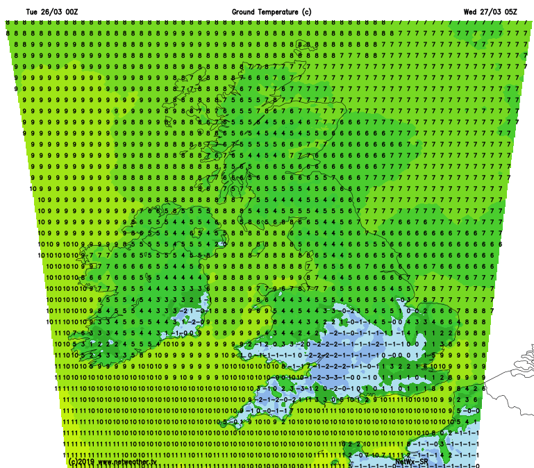 A frost for some again tonight - ground temperatures