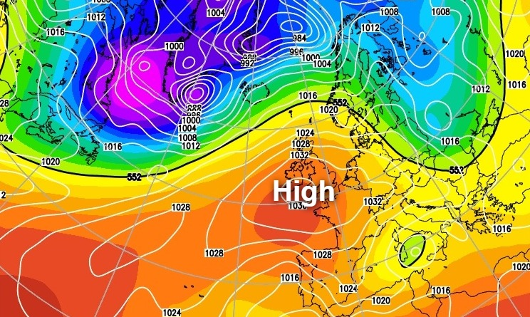 High pressure centred over the south of the UK