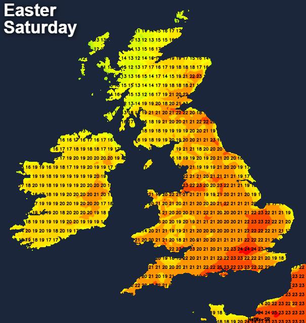 Temperatures on Easter Saturday