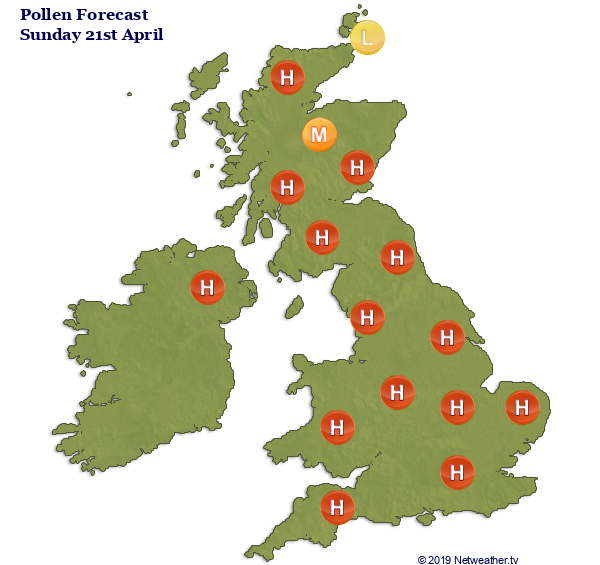 High pollen count this weekend