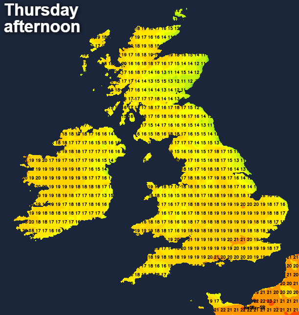 Temperatures on Thursday afternoon