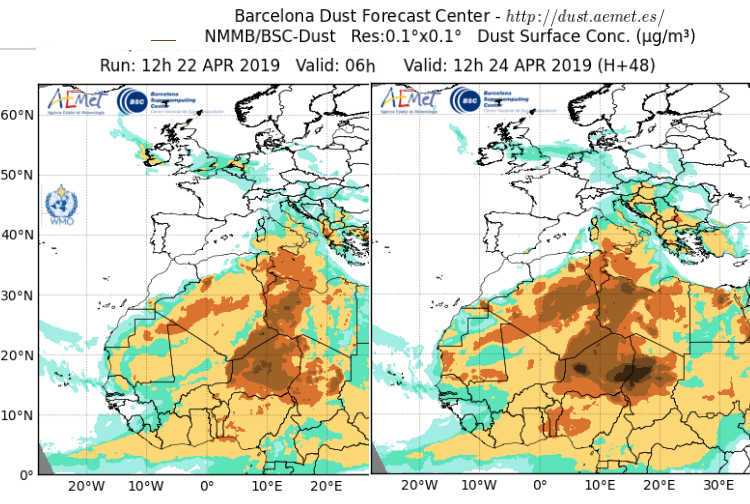 Saharan Dust - adding to Air Quality issues as it snakes northwards this week.