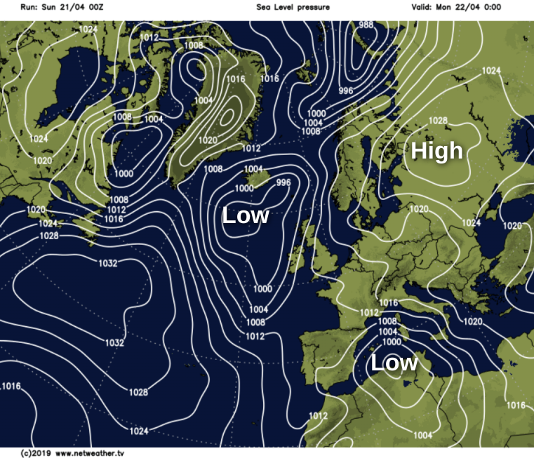 High pressure moving away to the east