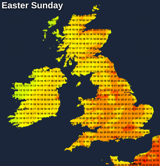 Very warm again on Easter Sunday