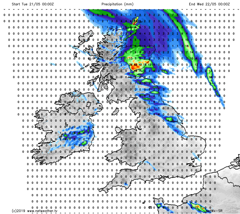 Rainfall forecast over the next 24 hours