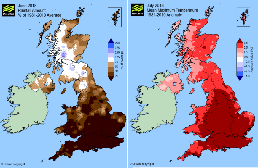 UK Met Office charts 2018 summer heat and lack of rainfall