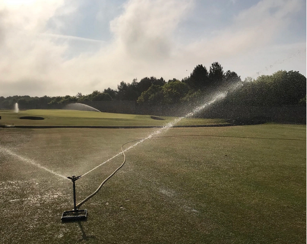 Portable water sprayers on the golf course