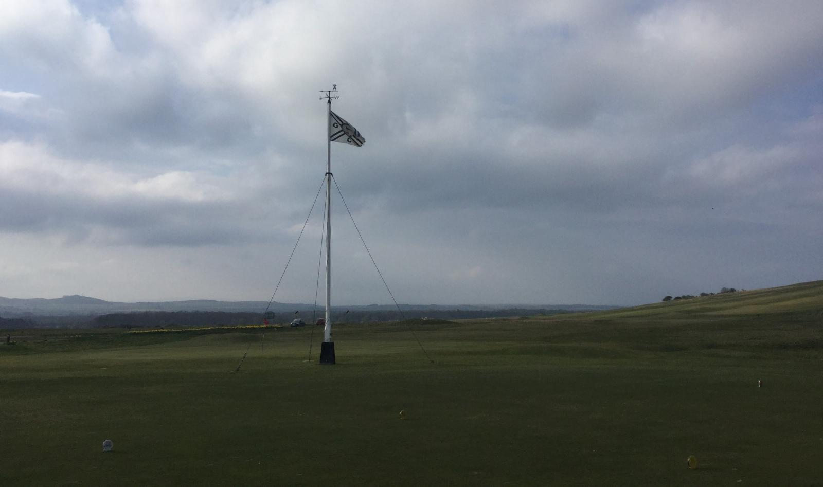 Gullane Golf course First tee , starters hut, Flag