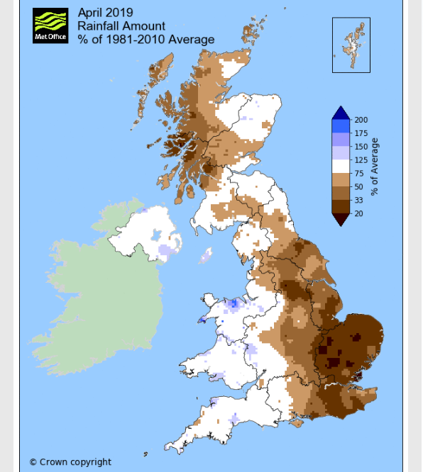 UK Met Office April 2019 rainfall, dry eastern England. W.Scotland